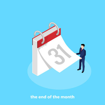 a man in a business suit tears off a sheet from the calendar, an isometric image