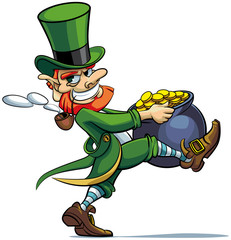 leprechaun stealing pot of golden coins