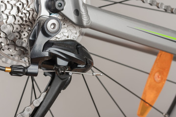Part of bike derailleur,close up view, studio photo