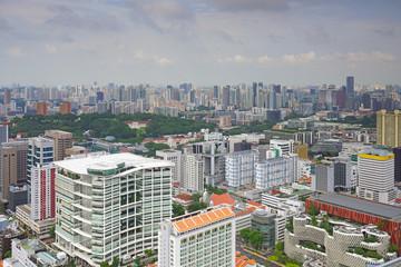 Panoramic view of the modern Singapore skyline