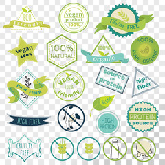 Set of labels for vegans, gluten free and diary free badges. Signs for natural organic food, that contains high fiber and protein. Eco friendly emblem collection isolated on transparent background.