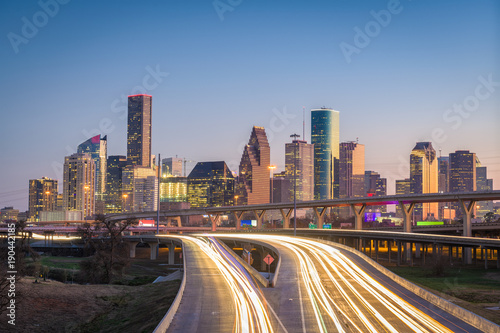 Fototapete Houston, Texas, USA Skyline and Highway