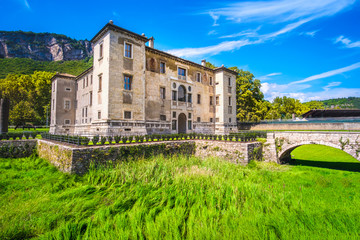 castle moat fosse dry grass Albere palace in Trento Trentino Italy