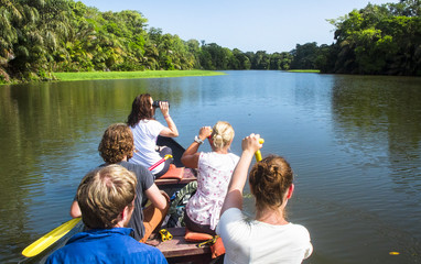A group of wildlife surveyors canoes through the canals of Tortuguero National Park, Costa Rica.