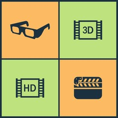 Vector Illustration Set Cinema Icons. Elements of Video tape, Red carpet, Walk of Fame star and Microphone icon