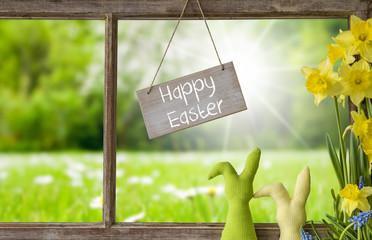 Window, Green Meadow, Happy Easter