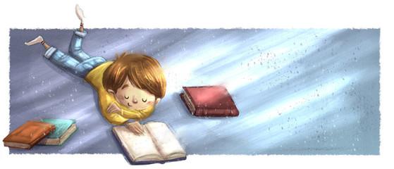 niño tumbado leyendo libros