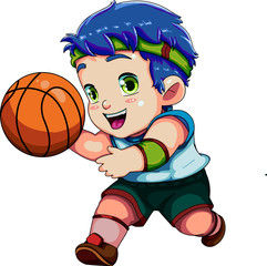 boy playing basketball, child dribbeling  ball in the from vektor