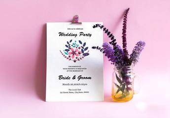 Modern Floral Wedding Invitation Layout 1