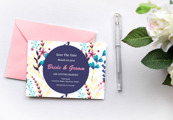 Modern Floral Save-the-Date Card Layout 1