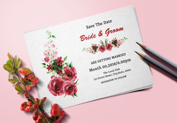Save-the-Date Card Layout with Watercolor Floral Elements 1