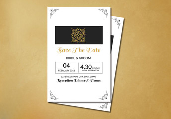 Filigree and Embellished Corners Save-the-Date Card Layout 1