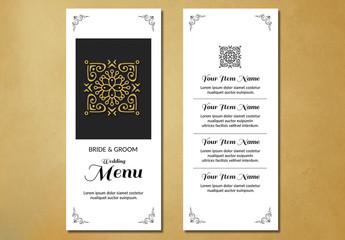 Filigree and Embellished Corners Wedding Menu Layout 1