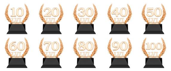 Golden trophy level cups 10, 20, 30, 40, 50, 60, 70, 80, 90, 100. 3D rendering