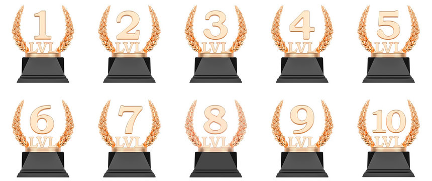Golden trophy level cups first, second, third, fourth, fifth, sixth, seventh, eighth, ninth, tenth. 3D rendering