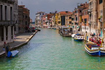 VENICE, ITALY - on May 5, 2016. View on Grand Canal, Venetian Landscape with boats and gondolas