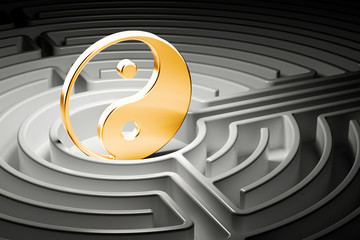 Yin and yang at the center of a maze, way to harmony concept. 3D rendering