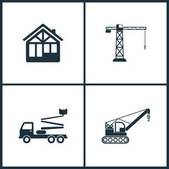 Vector Illustration Set Cinema Icons. Elements of Construction house , Building crane, Truck crane and Crane  icon