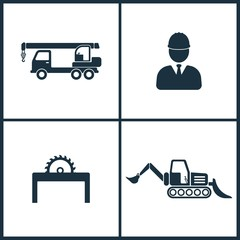 Vector Illustration Set Cinema Icons. Elements of Crane, Builder, Saw and Loader icon