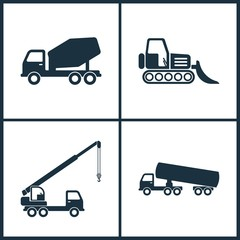 Vector Illustration Set Cinema Icons. Elements of Concrete mixer, Loader, Truck crane and Chemical truck icon