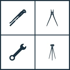 Vector Illustration Set Cinema Icons. Elements of Gas key for plumbing, Pile, Wrench and Theodolite on tripod line icon