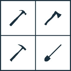 Vector Illustration Set Cinema Icons. Elements of Hammer, Ax, Hammer and Shovel icon