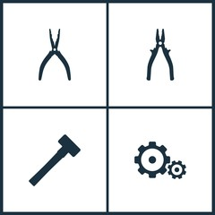 Vector Illustration Set Cinema Icons. Elements of Pile, Sledgehammer and Gear icon