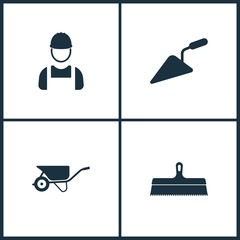 Vector Illustration Set Cinema Icons. Elements of Worker, Wheelbarrow and Putty knife icon