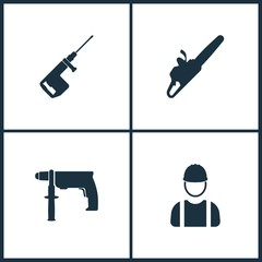 Vector Illustration Set Cinema Icons. Elements of Drill, Electro saw and Builder icon