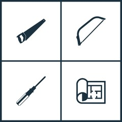 Vector Illustration Set Cinema Icons. Elements of Saw, Screwdriver and Plan icon