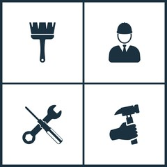 Vector Illustration Set Cinema Icons. Elements of Brush, Builder, Screwdriver and Hand holding hammer icon
