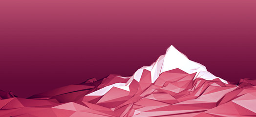 Foto auf Acrylglas Hochrote Stylized polygonal image of a mountainous area with a glacier on top of a mountain. 3d illustration