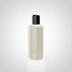 transparente Kosmetikflasche mit Kippverschluss gefüllt ohne Ettikett