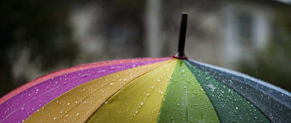 Close-up  umbrella in rainbow colors in rainy autumn day, blur focus