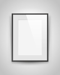 Realistic empty rectangular black frame with light passepartout on gray background, border for your creative project, mock-up sample, vector design object