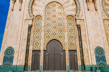 Low angle view of Hassan II mosque's big gate - Casablanca - Morocco
