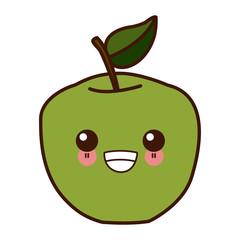 Apple fruit symbol kawaii cute cartoon vector illustration design