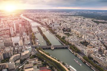 Sunset over Seine river in Paris