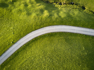 Elevated view of road amidst green landscape