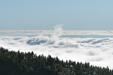 Aerial view of mountains with cloudscape