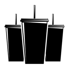 set of plastic soda cup with straw fresh drink vector illustration