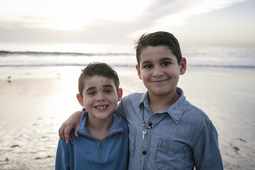 Portrait of smiling brothers standing on beach