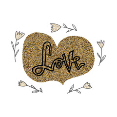 Love hand lettering romantic card with gold glitter hearts and flowers. Hand drawn lettering. Used for greeting card, banner, poster, congratulate. printing. Vector typography poster, romantic quote.