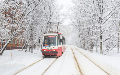 January 31, 2018. Moscow, Russia. Tram on the snow-covered street