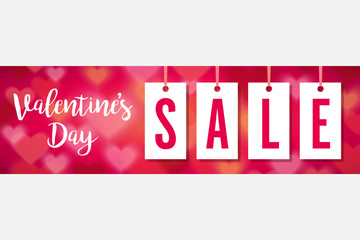 Valentines Day Sale Hang Tag Banner Vector Illustration 1