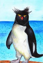 Ipmerator's penguin. Watercolor illustration, baby drawing