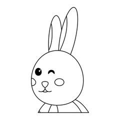 rabbit or bunny wink icon image vector illustration design  black line