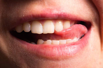 Healthy beautiful female smile. Teeth health, whitening, prosthetics and care