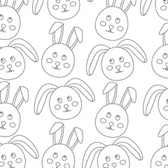 rabbit or bunny pattern image vector illustration design  black dotted line