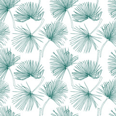 Tropical leaves, jungle pattern. Seamless, detailed, botanical pattern. Vector background. Palm leaves.